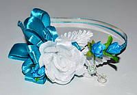 Обруч для волос, букет цветов, лента в горох, голубой 21_4_74а2