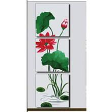 Триптих раскраска по номерам Фэн-Шуй. Цветок лотоса в полном расцвете