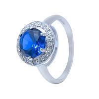 """Серебряное кольцо """"Испаньола"""" с синим кубическим цирконием"""