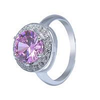 """Серебряное кольцо """"Испаньола"""" с розовым кубическим цирконием"""