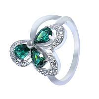 """Серебряное кольцо """"Лепестки"""" с зелеными камнями"""