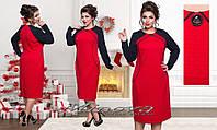 Платье женское делового стиля с декором  батал