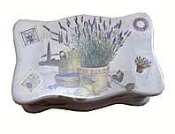 Шкатулка деревянная для чайных пакетов Лаванда