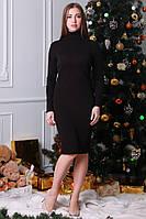 Модное теплое трикотажное повседневное приталенное платье