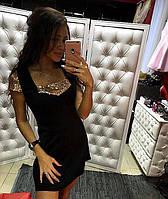 Красивое,нарядное платье с отделкой из паеток, цвет черный