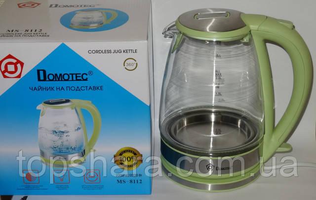 Электрочайник стекло Domotec MS-8112 2.0л Салатовый