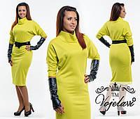 Желтое трикотажное платье батал с перчатками и поясом.  Арт-9345/41
