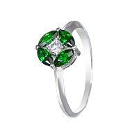 """Серебряное кольцо """"Вальс"""" с зеленым фианитами"""