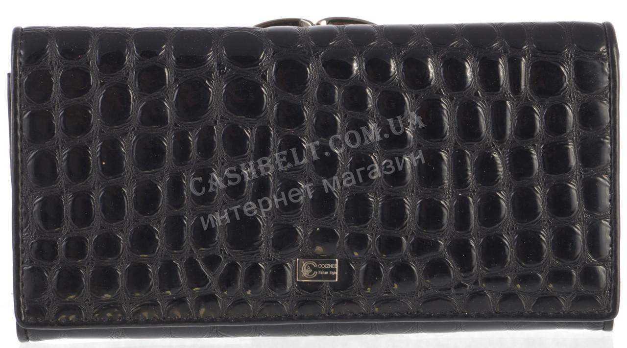 Стильный лаковый женский кожаный кошелек под рептилию высокого качества COZZNEE art. T906 516661 черный