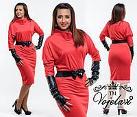 Красное трикотажное платье батал с перчатками и поясом.  Арт-9345/41