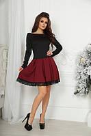 Нарядное короткое платье с юбуой клёш (3цвета)