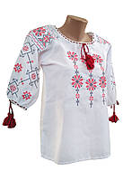 Жіноча вишиванка у великих розмірах білого кольору із геометричним орнаментом, фото 1