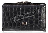 Стильный лаковый женский кожаный кошелек под рептилию высокого качества COZZNEE art. T906 512A661 черный