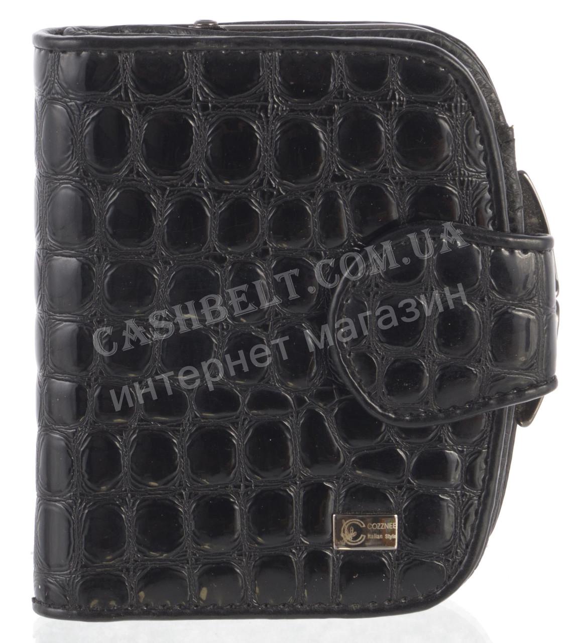Стильный лаковый женский кожаный кошелек под рептилию высокого качества COZZNEE art. T906 301661 черный