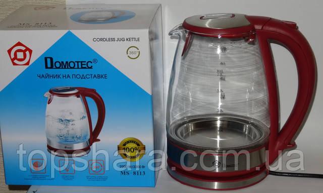 Дисковый электрический чайник из закаленного стекла  Domotec MS-8113 на 2.0л  красный