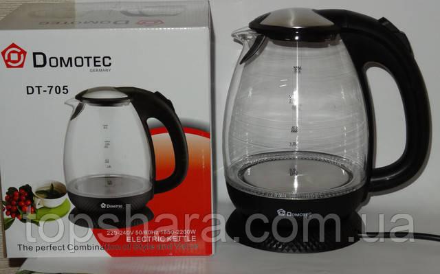Дисковый электрический чайник из закаленного стекла  Domotec DT-705 на 2.0л  Черный.