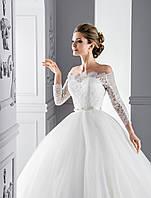 """Шикарное пышное свадебное платье силуэта """"Принцесса"""" с пояском, украшенным великолепной ручной вышивкой мз бис"""