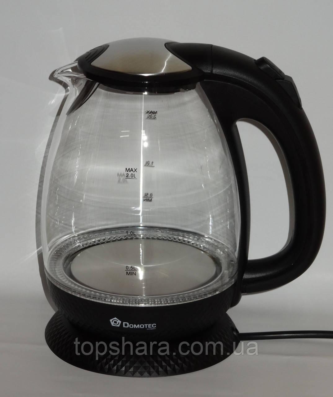 Электрочайник стекло Domotec DT-705  2.0л Черный LED подсветка