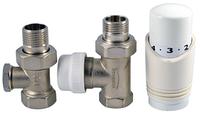 """Термостатический комплект, прямой: белая головка, термостатический клапан, обратный клапан """"1/2"""" INVENA"""