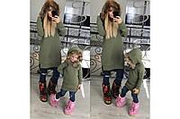 Очень теплая зимняя туника на капюшоне мех, в батальных больших размерах, мама и дочка