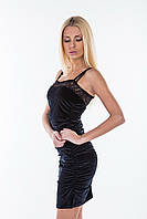 Черное  женское платье из велюра