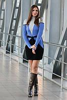 Вязаное платье Корсет василек+ черный 42-48