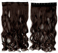 Трессы волнистые темно-коричневые волосы на клипсах