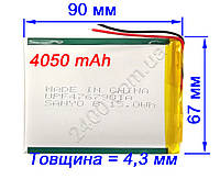 Аккумулятор 4050мАч 4.4*66*90 мм 3,7в SANYO для планшетов 4050mAh 3.7v (универсальный)