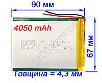 Аккумулятор для планшета 4050 мАч (3,7 в) универсальный 3.7v 4,4*66*91мм SANYO 4050mAh (446690)