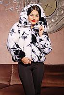 Норковая шуба женская Летучая мышь черно - белая, магазин шуб