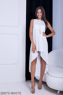Оригінальне асиметричне біле плаття Sansy