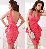 DM-60337 Вечернее Миди Платье Кружевная Баска