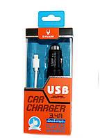 USB зарядка от прикуривателя с ударником для разбивания стекла +  lightning кабель