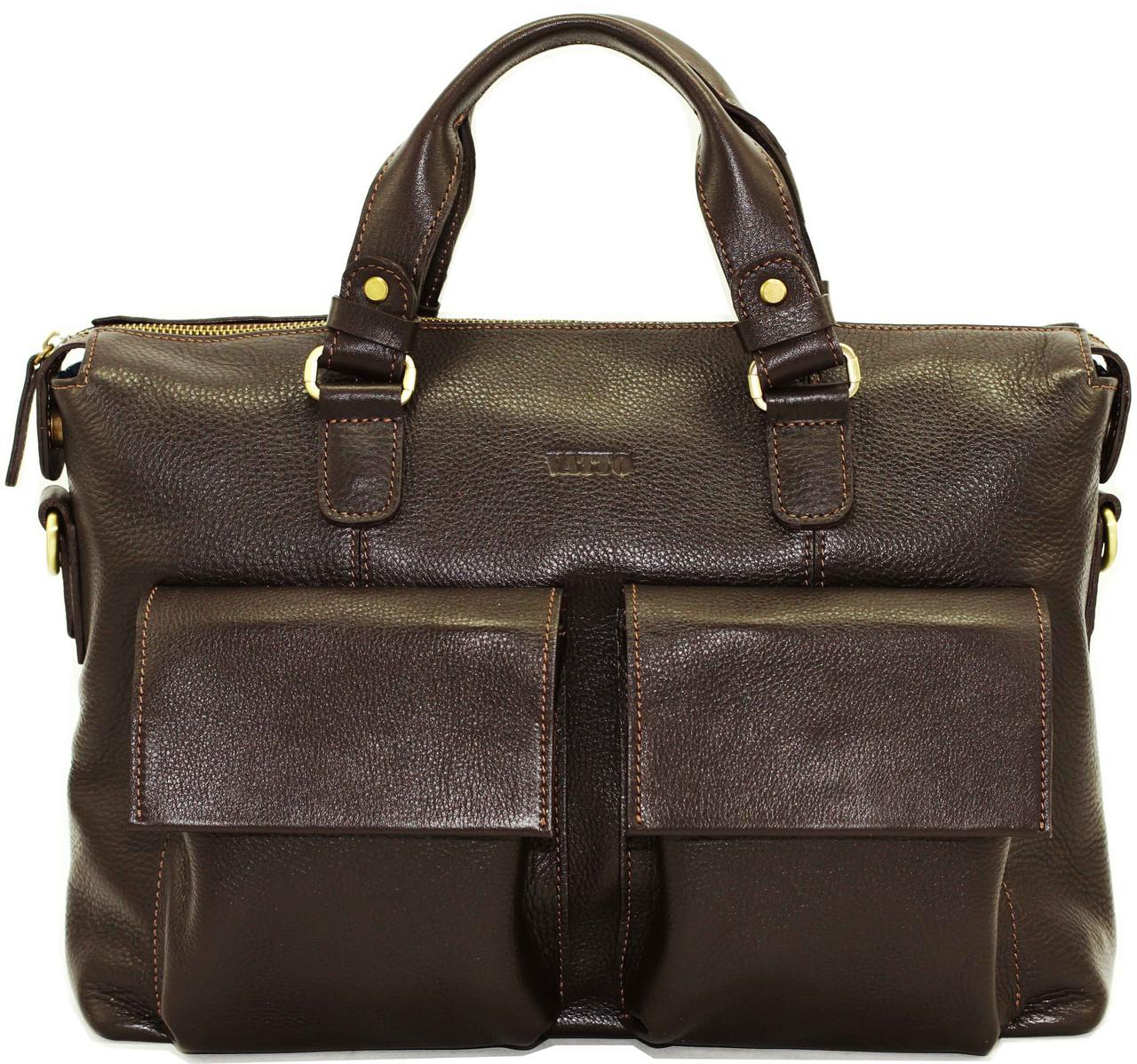 Кожаный мужской портфель Mk25 коричневый