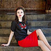 """Вишиванка женская черная с коротким рукавом и вышивкой """"маки"""". Разм. XS - XL. Davanti ."""