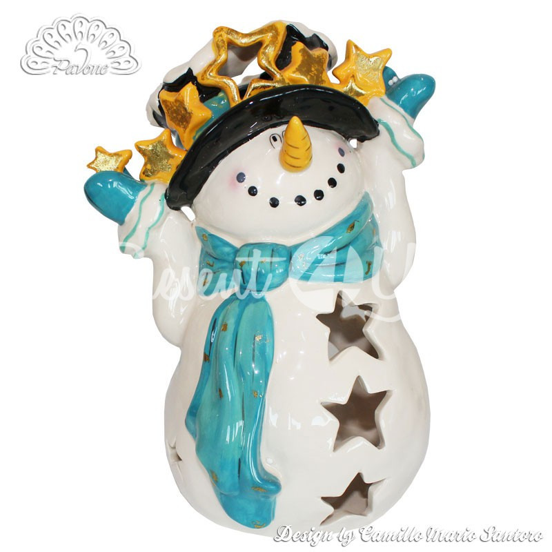 Керамический подсвечник «Снеговик», h-23 см.