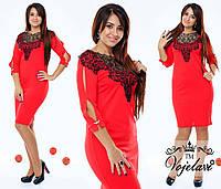 Красное батальное платье с дорогим кружевом на горловине.  Арт-9350/41