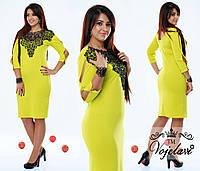 Желтое  батальное платье с дорогим кружевом на горловине.  Арт-9350/41