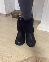Теплые женские зимние сапоги-угги натуральная кожа, внутри шерсть и овчина, кролик натуральный. Цвет черный