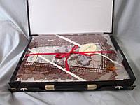 Постельное белье комплект евро, жаккард,  в подарочной упаковке-чемоданчике