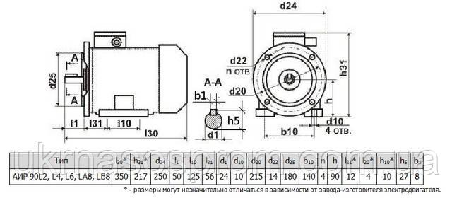 Электродвигатель АИР 90 L4 2,2 кВт 1500 об/мин