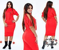 Батальное красное  платье из тонкого замша, украшение сова.  Арт-9351/41