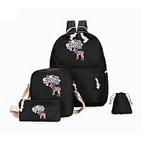 Модный школьный рюкзак с принтом оленя 4 в 1
