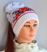 Маки, шапка двойная, р. 52-56. Белый+алый, т.розовый, розовый, фото 1