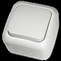 Выключатель одноклавишный накладной белый 220тм