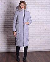 Зимняя длинная куртка - пуховик с капюшоном, 44-56р, серый