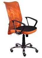 Кресло АЭРО НВ  сиденье Сетка черная, боковины Zeus 045 Orange/спинка Сетка оранж-Skyline
