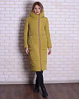 Зимняя длинная куртка - пуховик с капюшоном, 44-56р, горчица