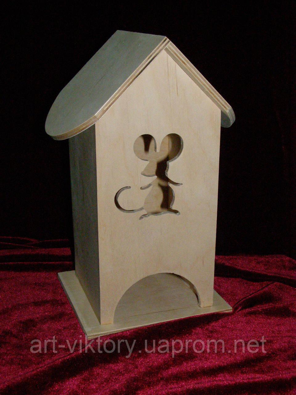 Домик коробка для чайных пакетиков мышка (10 х 10 х 23 см)