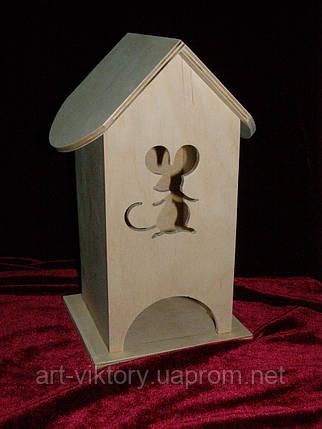 Домик коробка для чайных пакетиков мышка (10 х 10 х 23 см), фото 2
